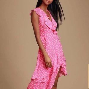 Cornelia Pink Floral Print Ruffled Wrap Dress L